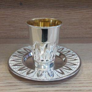 גביע קידוש+ צלוחית, מכסף טהור